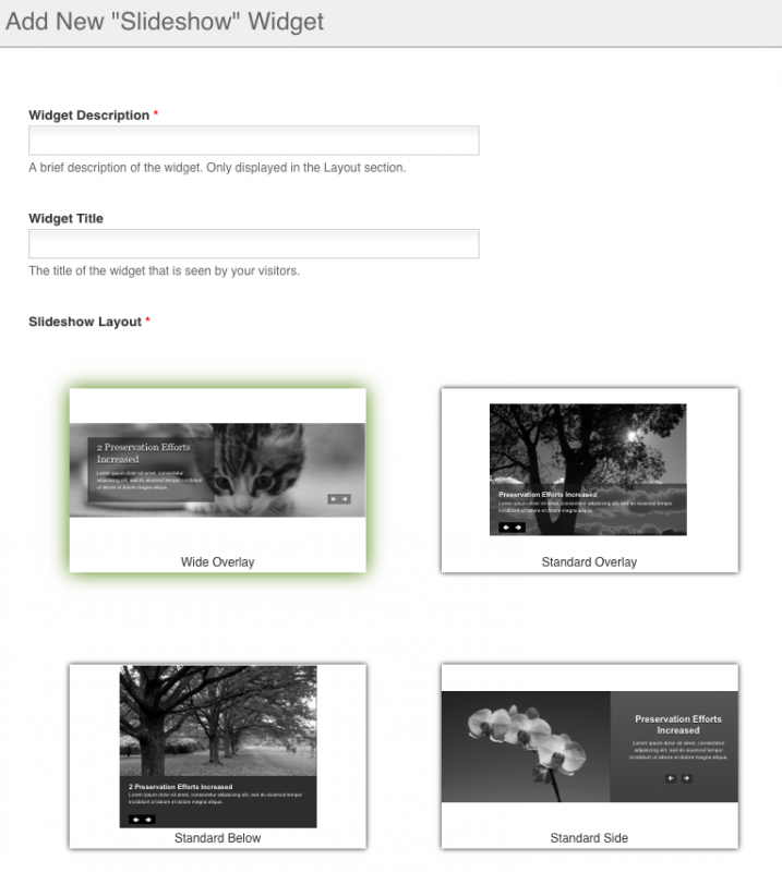 Create Slideshow form