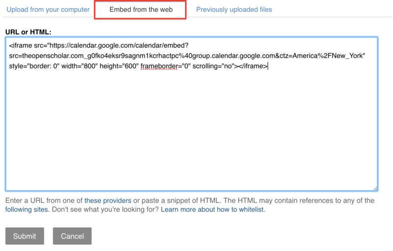 Google Calendar | OpenScholar Documentation