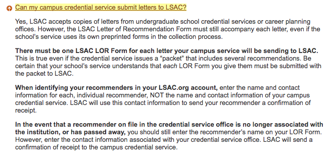im applying to law school and want all my letters of rec sent to lsac can you do that pforzheimer house