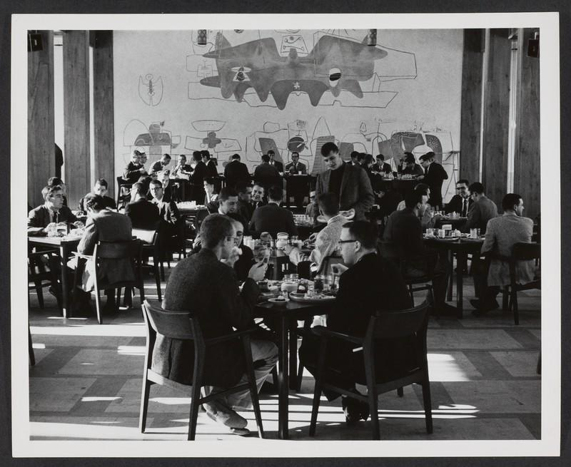 Dining Hall archival photo, small square tables, men in suits