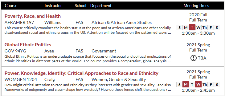 Screenshot of Harvard course catalog with three Social Science courses on race/ethnicity