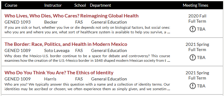 Screenshot of Harvard course catalog with three Gen Ed courses on race/ethnicity