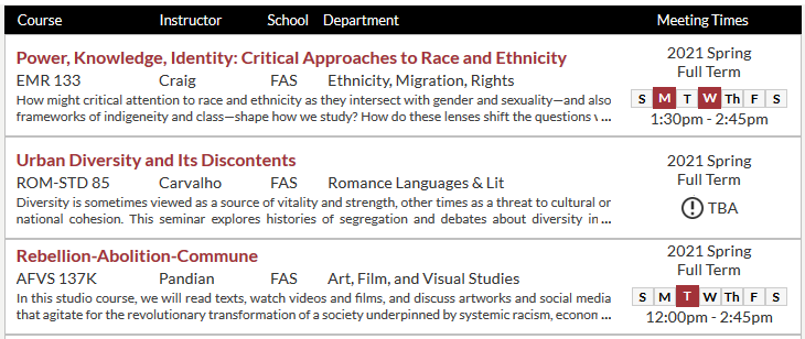 Screenshot of Harvard course catalog with three other courses on race/ethnicity