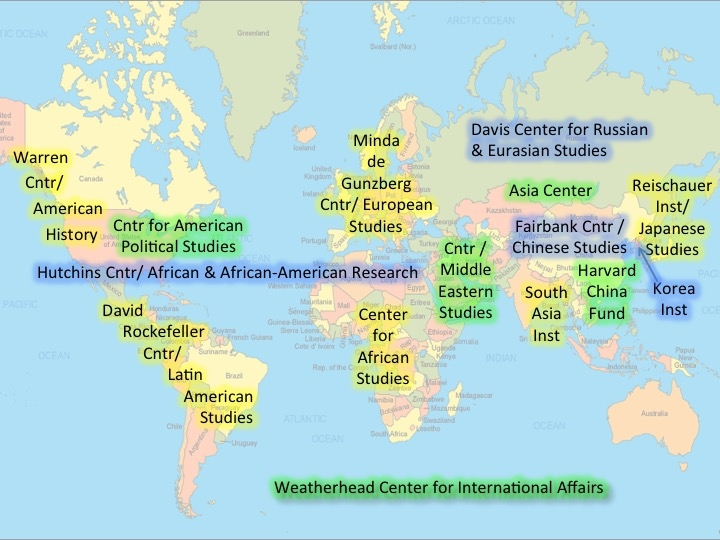 World map with overlay of area research centers