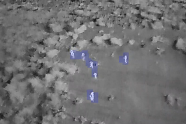 The thermal infrared camera imagery taken by a drone operated by the Air Shepherd conservation group during a field demonstration