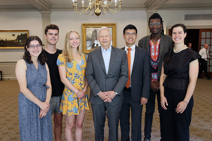 Image of the 2018-2019 Juster Fellows with Ken Juster