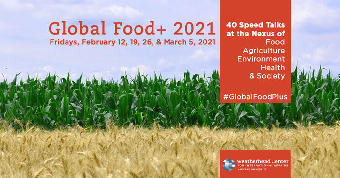 Event graphic for Global Food+ 2021 showing blades of grass against blue sky