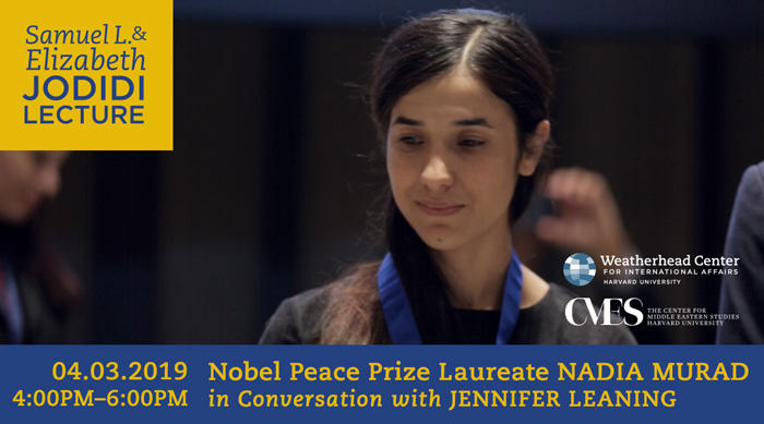 Graphic for Jodidi Lecture with Nadia Murad