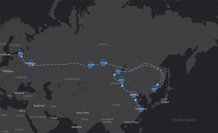Graphic of Sierra Nota's map route across Asia