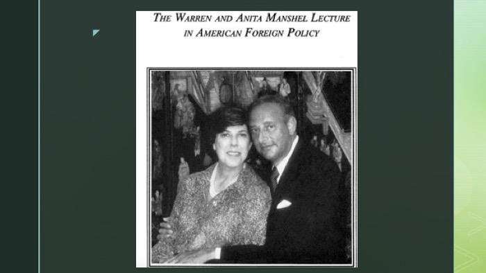 PowerPoint slide with image of Warren and Anita Manshel