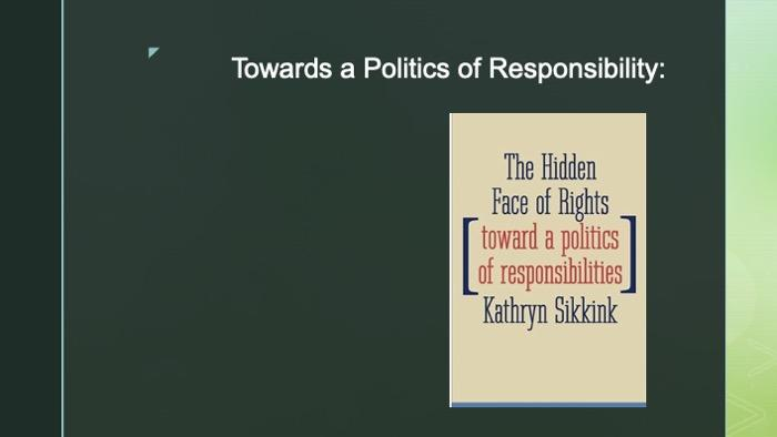 PowerPoint slide of Sikkink's new book cover