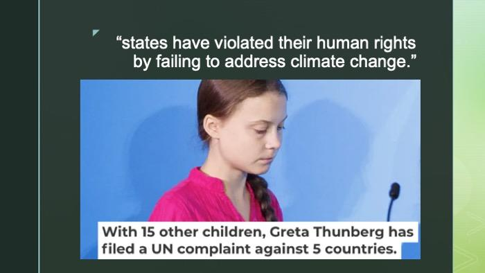 Slide of image of Greta Thunberg