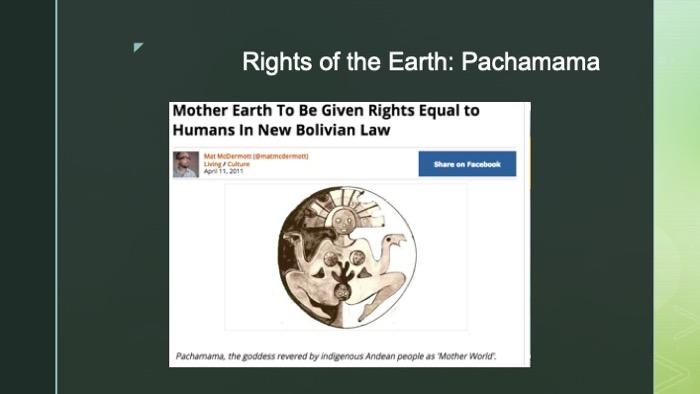 Slide of article intro on Pachamama