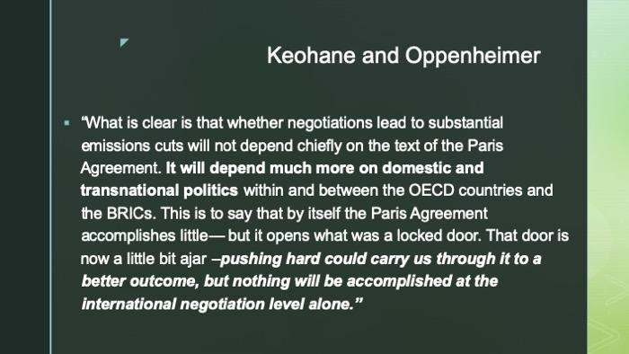 Slide of quotation by Keohane and Oppenheimer