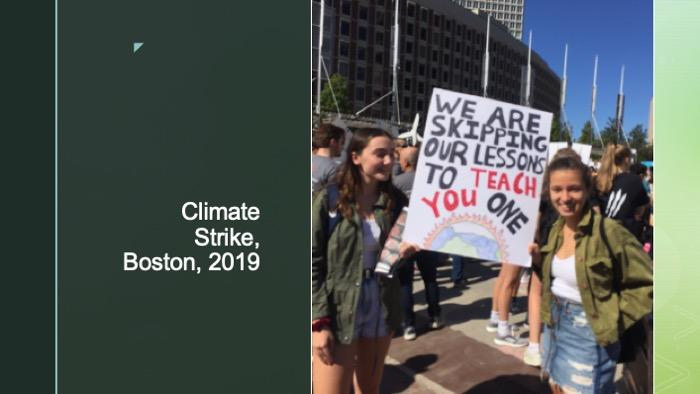 Slide of a photo at the Boston Climate Strike in 2019