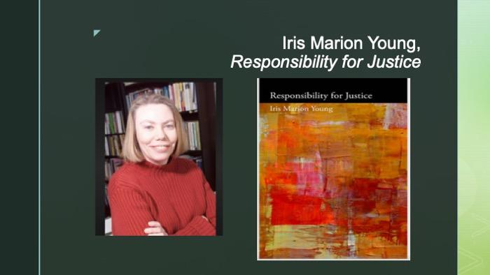 Slide of Iris Marion Young and her book cover for Responsibility for Justice