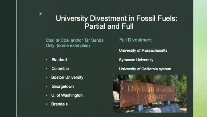 Slide on a list of universities who have fully or partially divested in fossil fuels