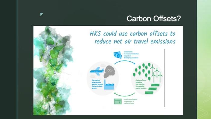 Slide of an infographic on carbon offsets HKS could use