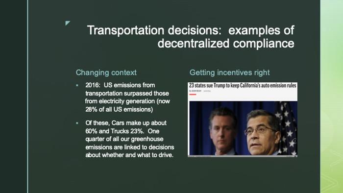 Slide with data and article intro photo on transportation decisions