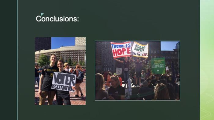 Slide of two images of climate protest goers with signs of hope and voter registration