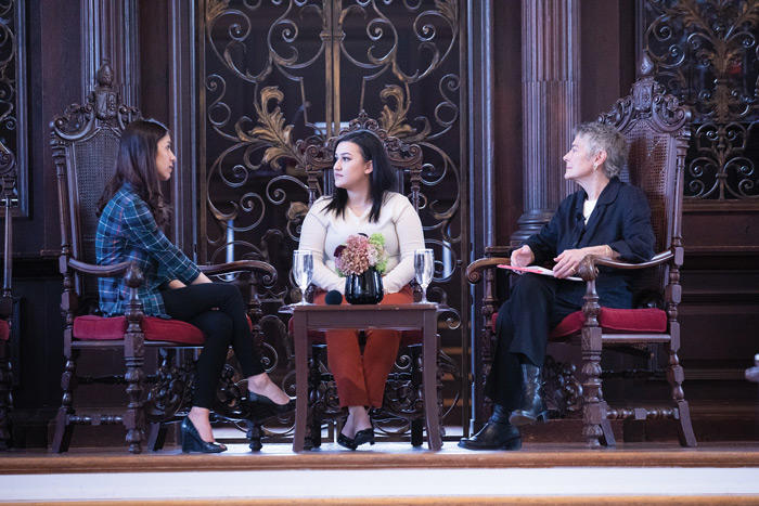 Image of Nadia Murad, Jennifer Leaning, and Shahnaz Osso in conversation