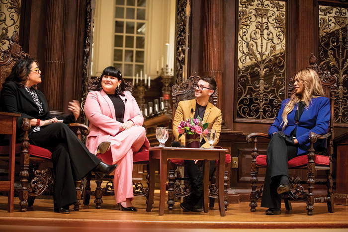 Image of Cultural expert, Jess Weiner, (from left); Fashion influencer Nicolette Mason; Designer, Christian Siriano, and Actress Laverne Cox speak at Memorial Church at Harvard University at the end of a day-long summit on gender equity.
