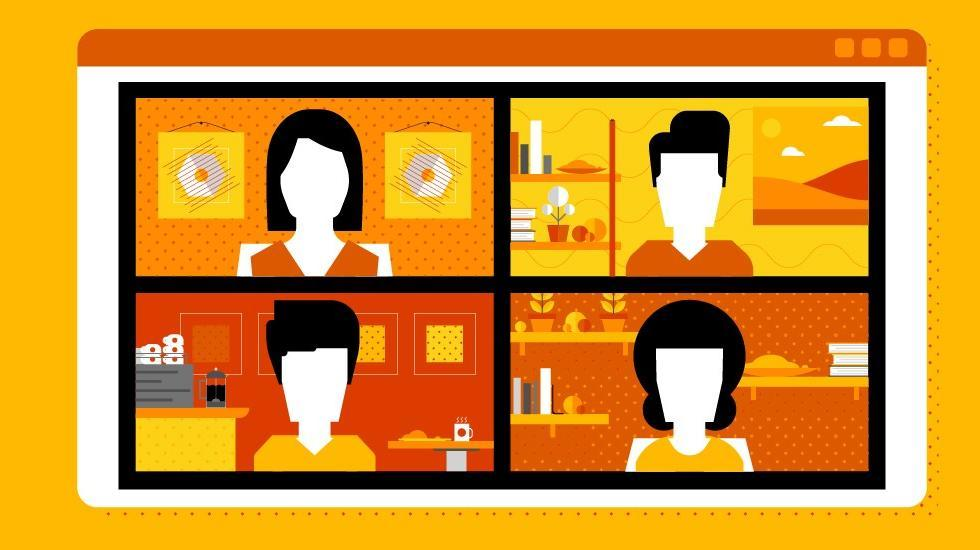 Cartoon image of an online meeting with four people in four different panels