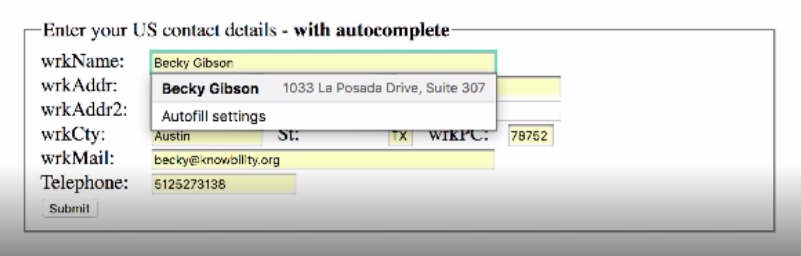 Screen capture of an input form that is auto filled