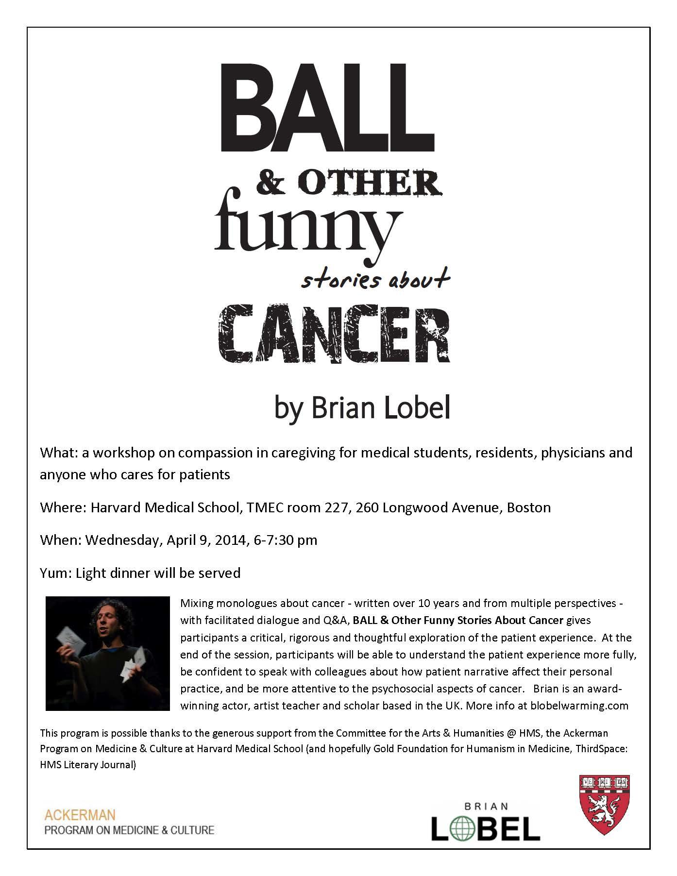 Ball & other funny stories about cancer workshop poster