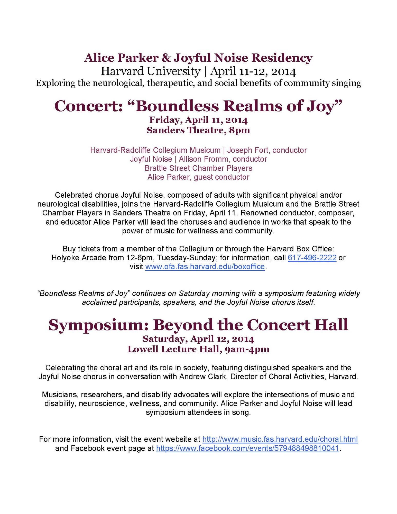 2014.04.11 Boundless Joy Concert and Symposium poster