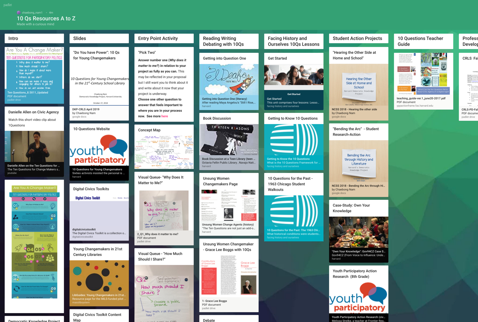 10 Qs Resource Padlet