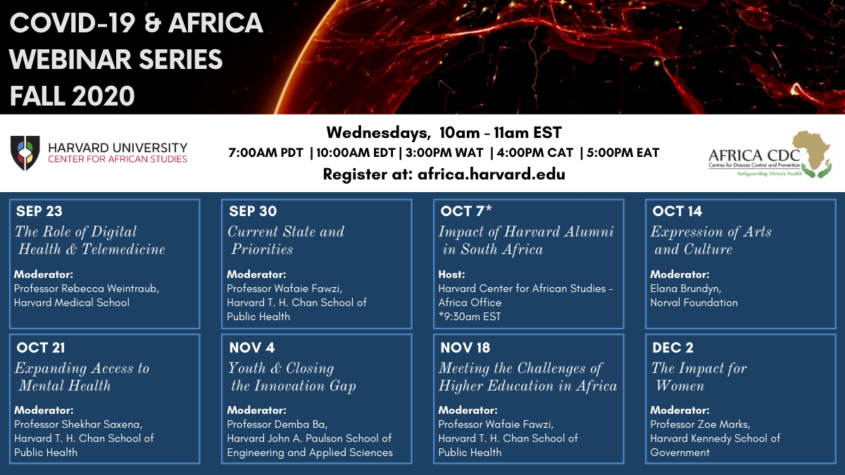 Image of all the webinars schedule for fall 2020