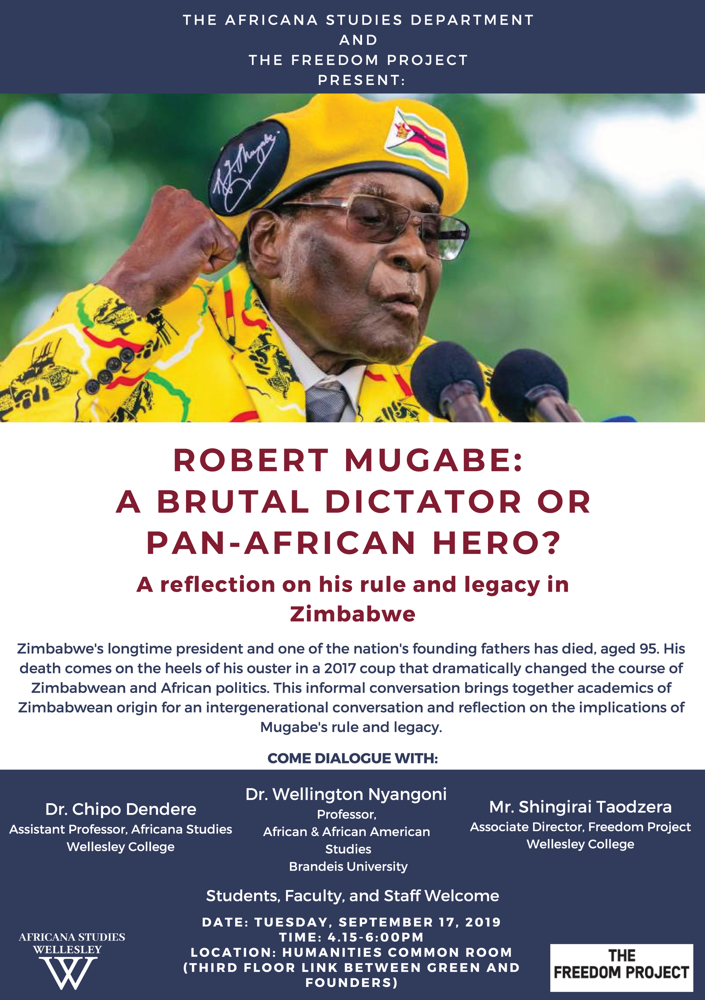 Robert Mugabe Wellesley Event Poster