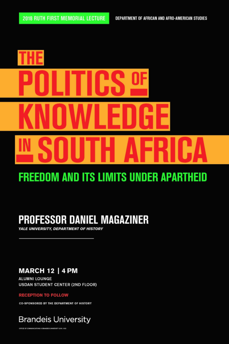 The Politics of Knowledge in South Africa: Freedom and its Limits under Apartheid