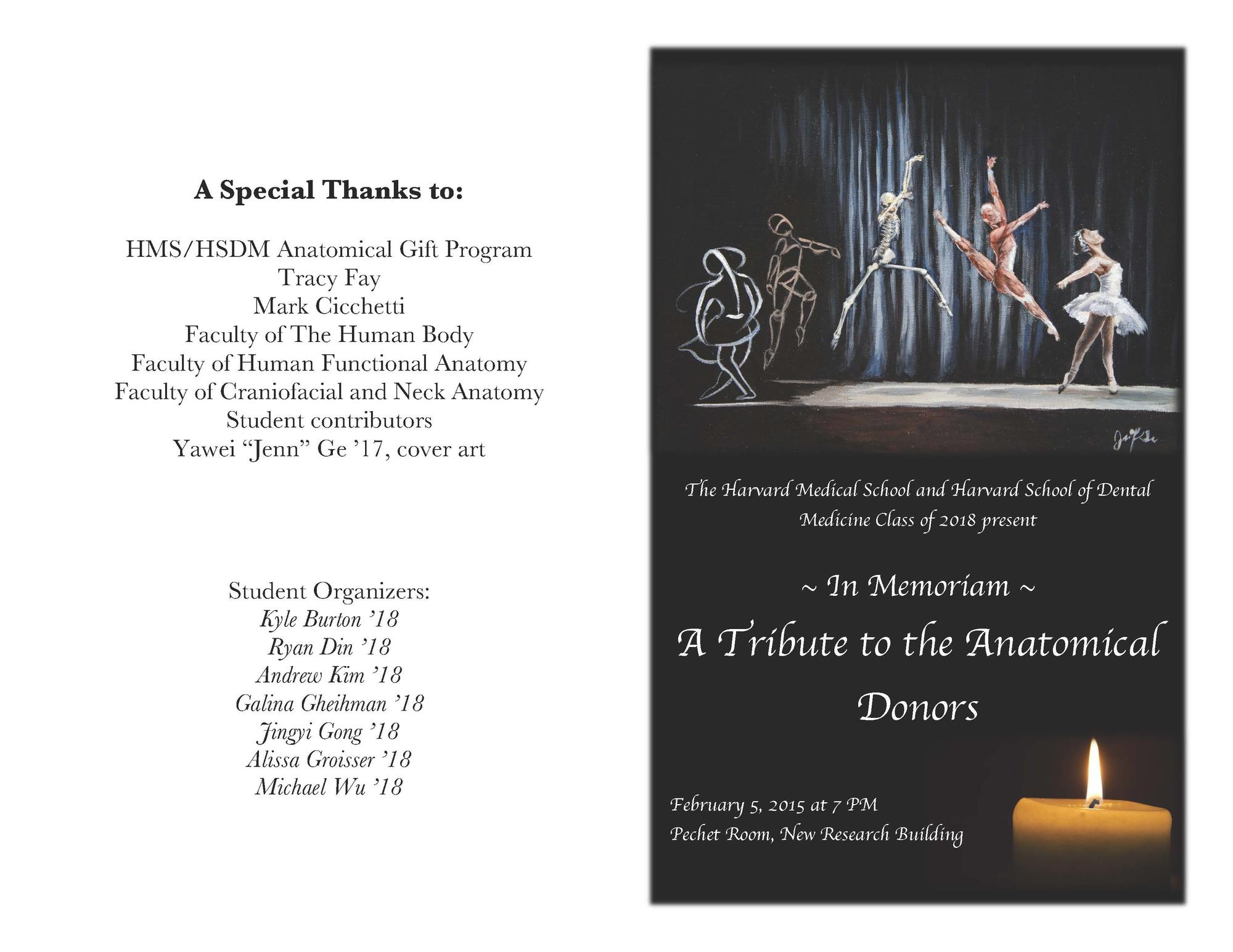 2015.02.05 Anatomical Donor Memorial Service - program front and back