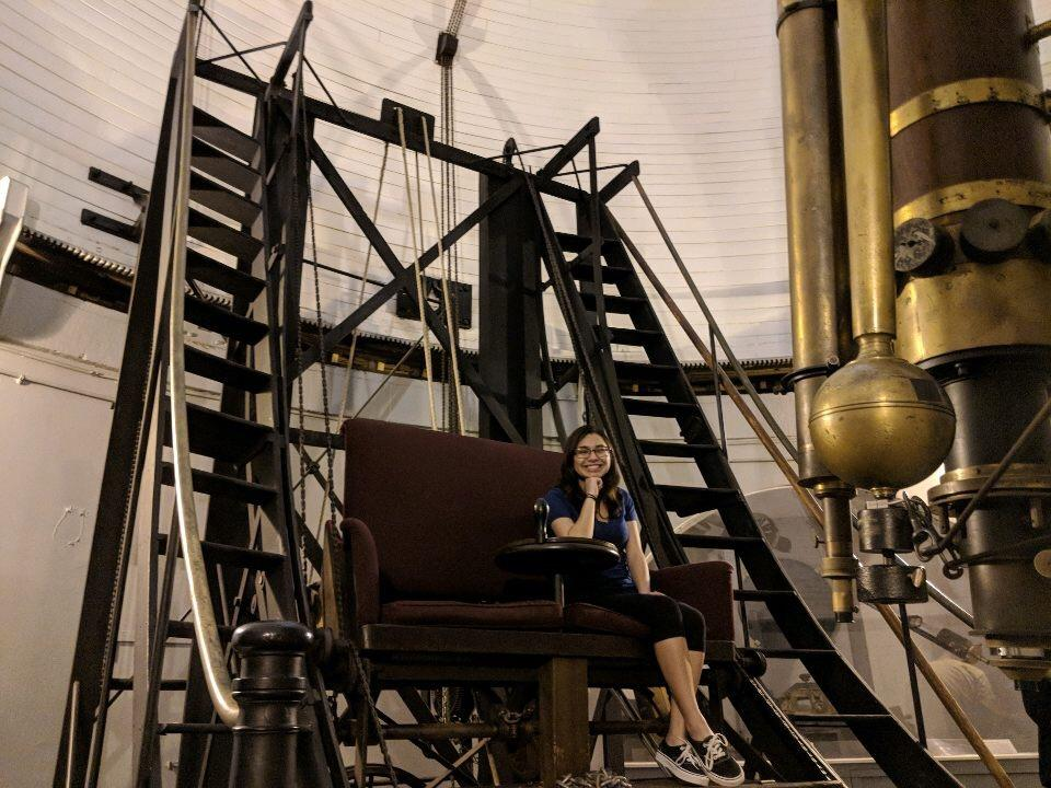Junellie Gonzalez Quiles (B4) tours the Harvard Great Refractor.