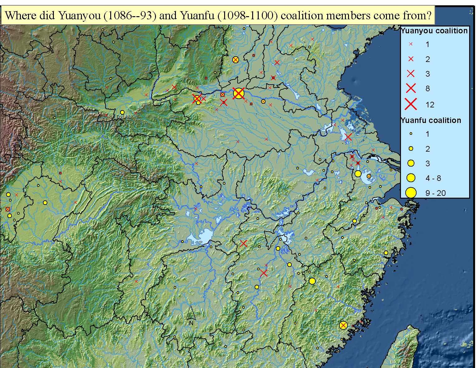 Where did Yuanyou(1086--93) and Yuanfu (1098-1100) coalition members come from?