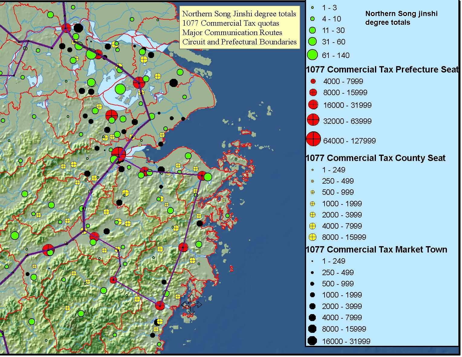 Northern Song Jinshi degree totals 1077 Commercial Tax quotas Major Communication Routes Circuit and Prefectural Boundries