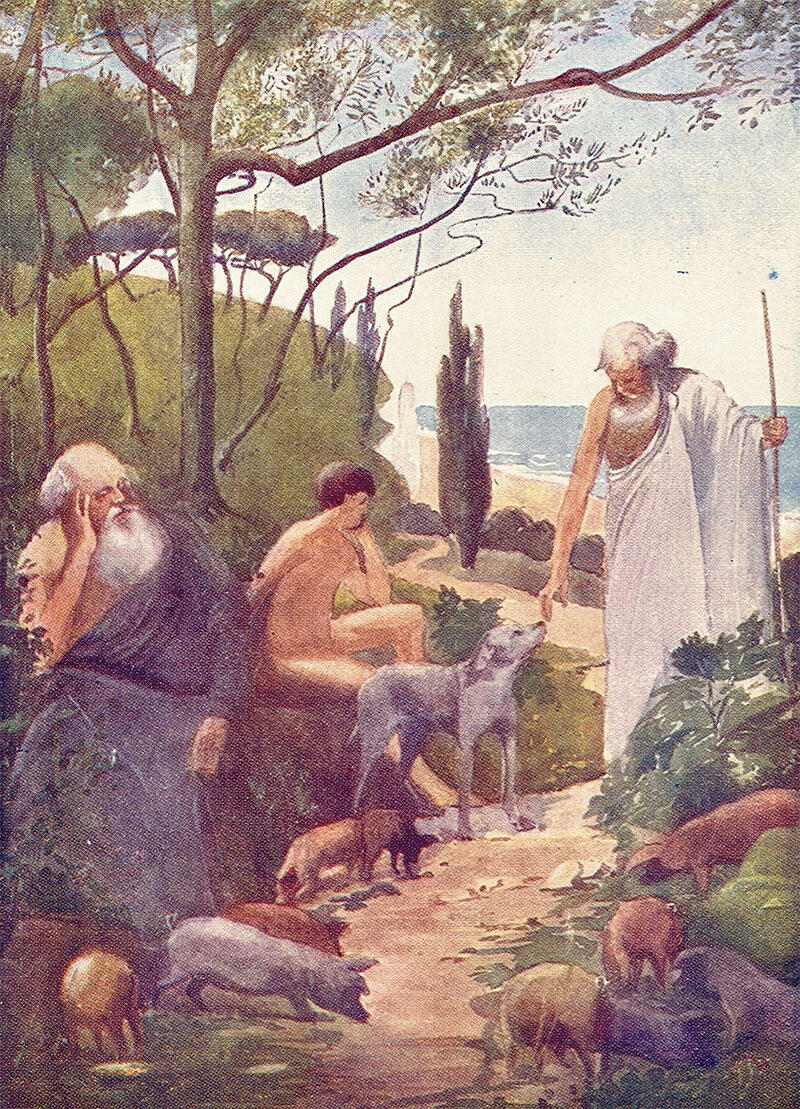 The illustration depicts a scene from the return of Odysseus in Ithaca before revealing his real identity, surrounded by his son Telemachus and his loyal swineherd and friend Eumaeus.