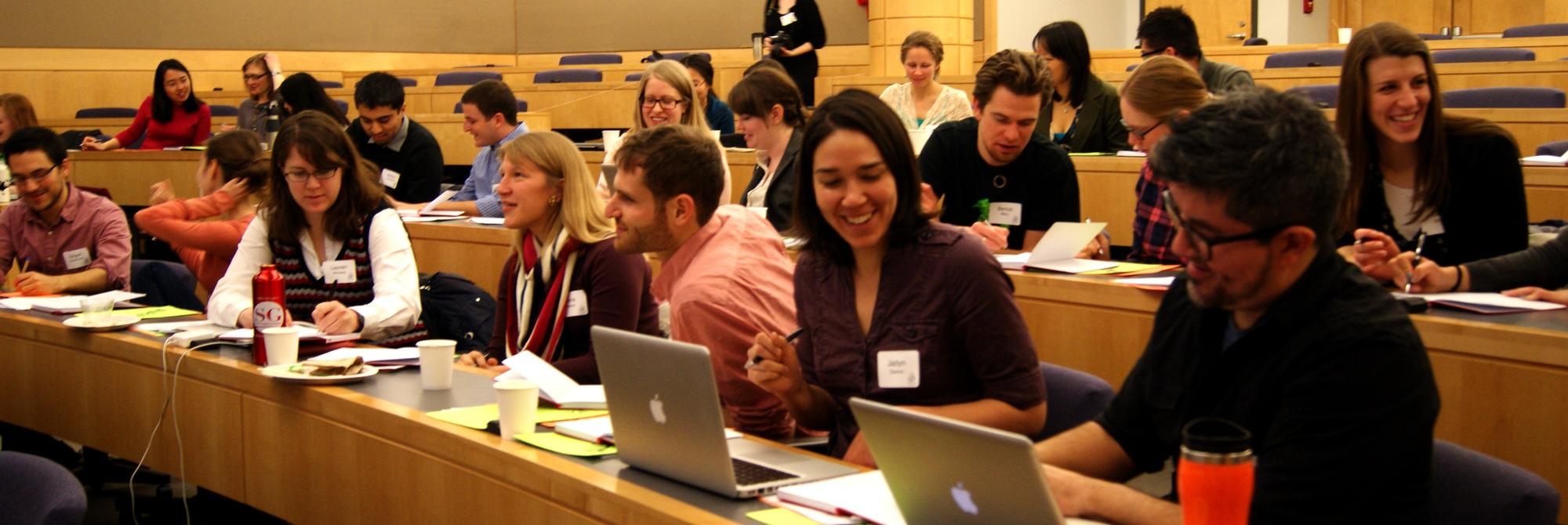 ComSciCon graduate student participants discussing during the 2014 local workshop.