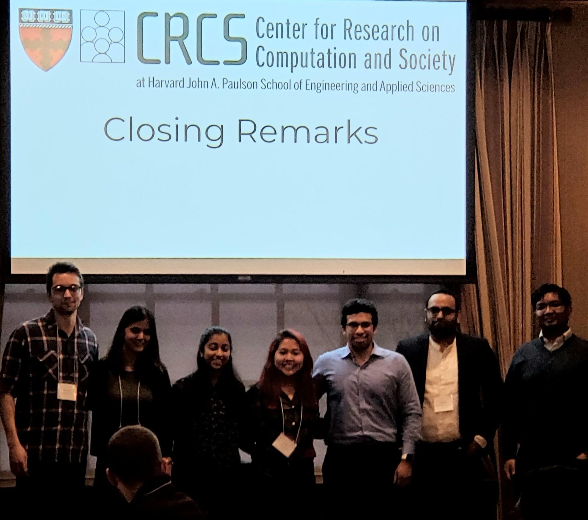Harvard, MIT, and USC organizers addressed the workshop at its close