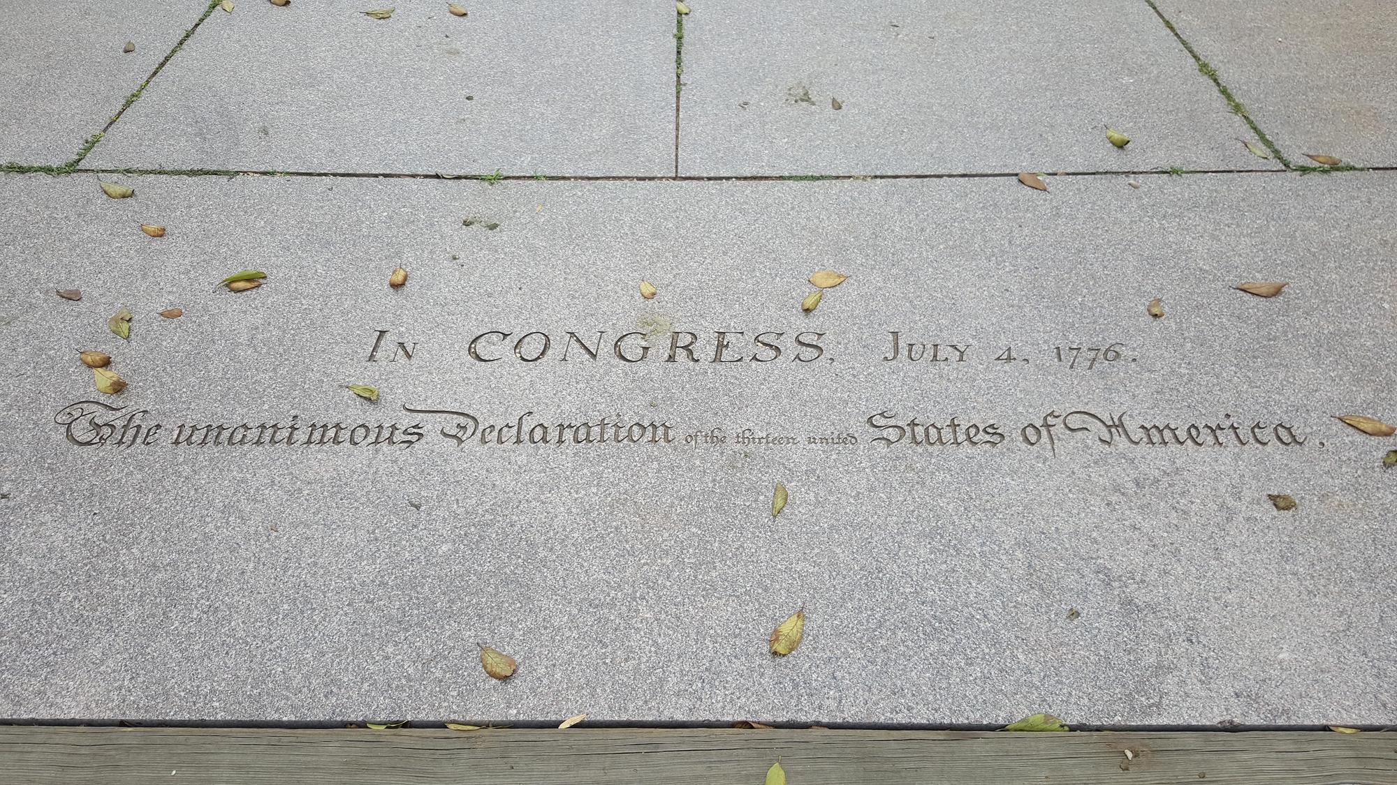 Stone Welcoming Visitors to Memorial to the 56 Signers of the Declaration