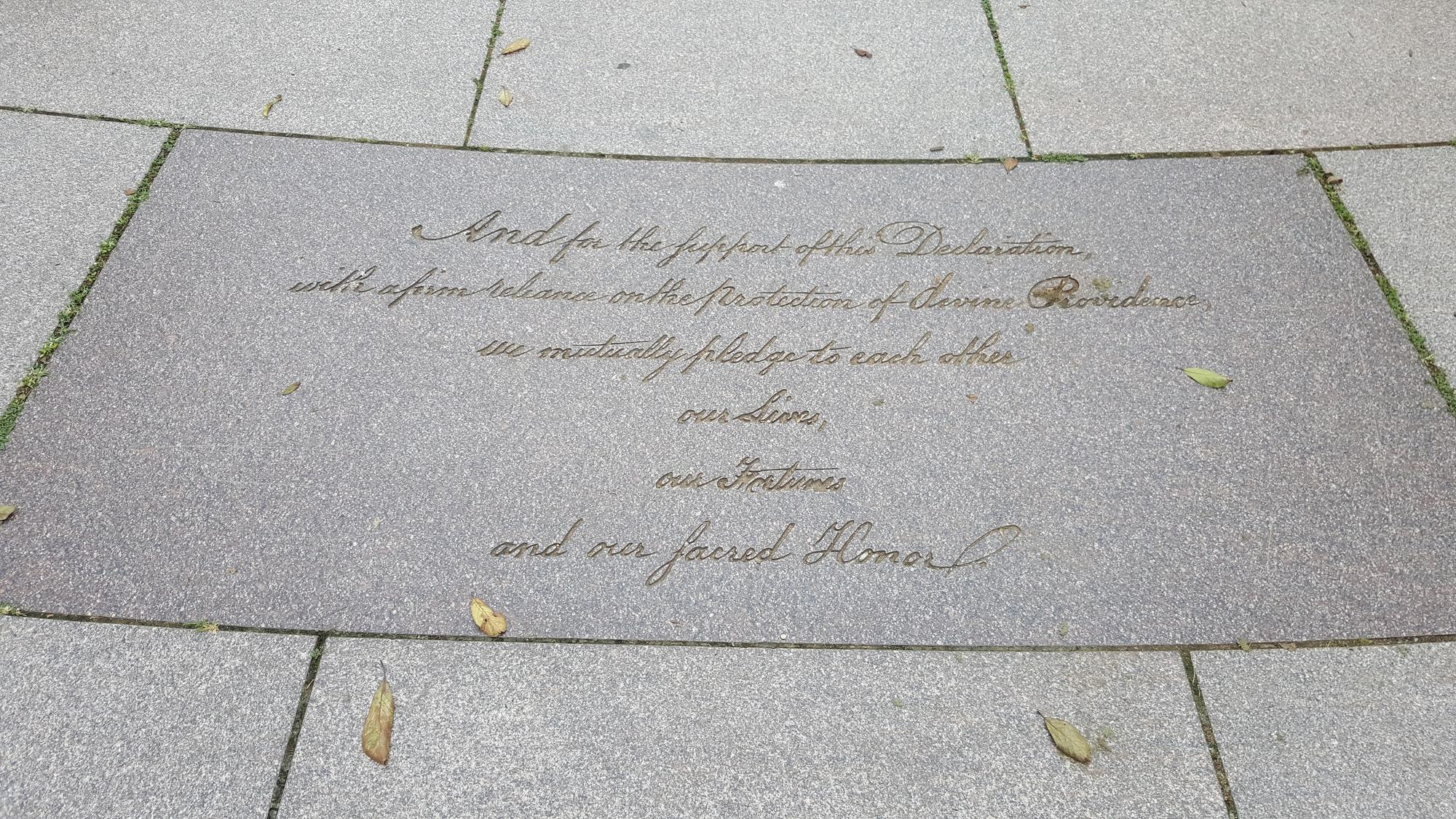 Last Sentence of the Declaration at the Memorial to the 56 Signers