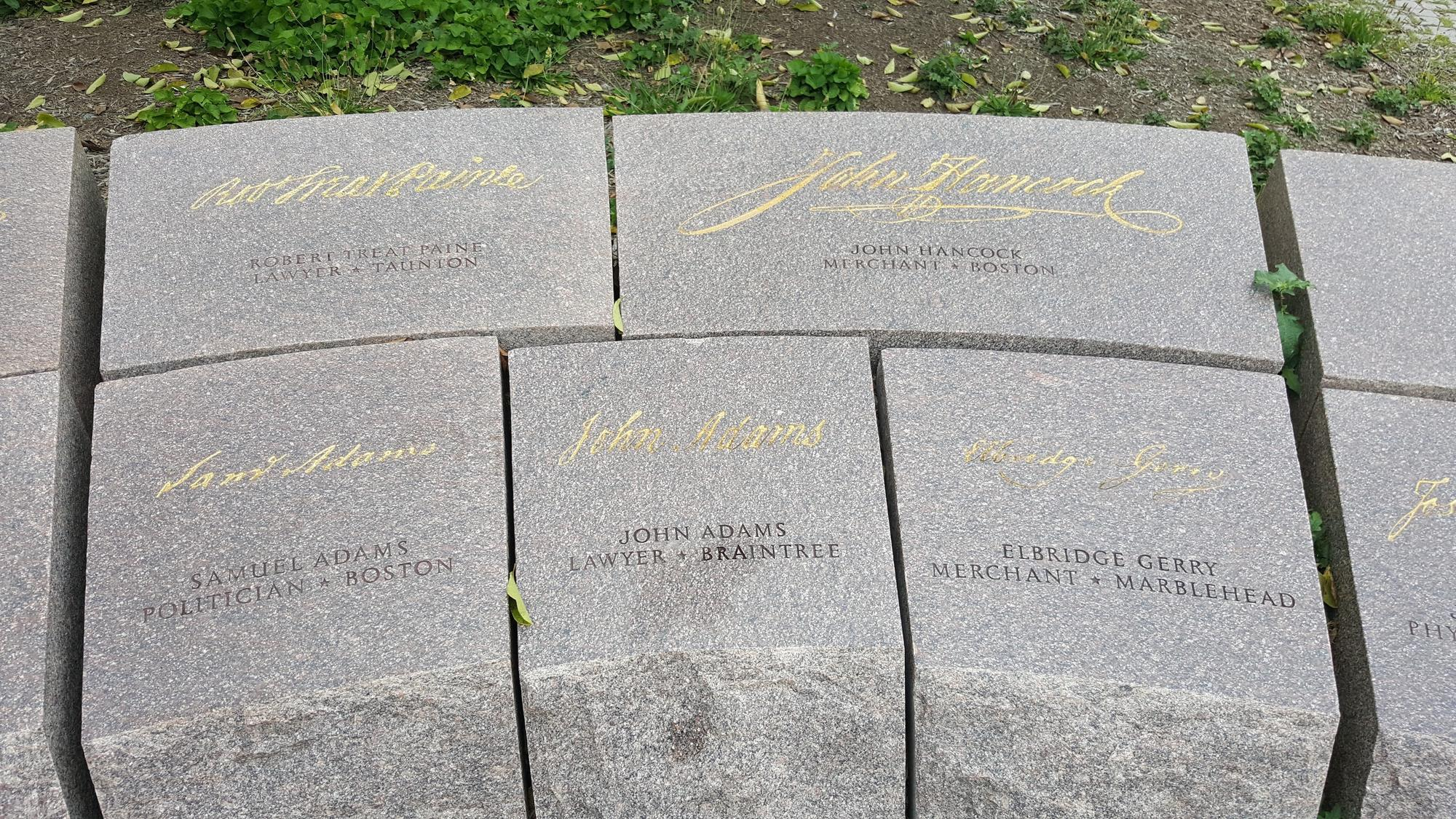 Massachusetts Signers Represented at the Memorial to the 56 Signers