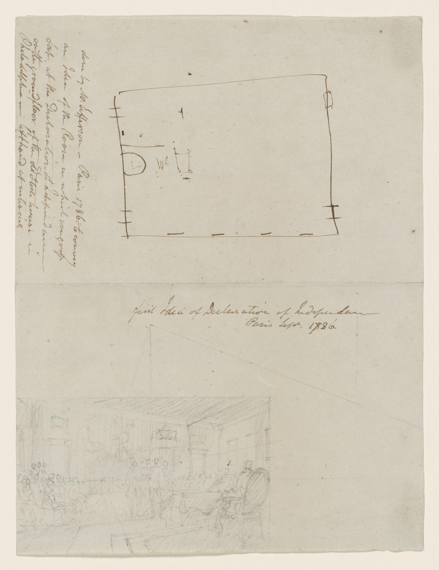 Preliminary Sketch of Declaration of Independence, John Trumbull and Thomas Jefferson