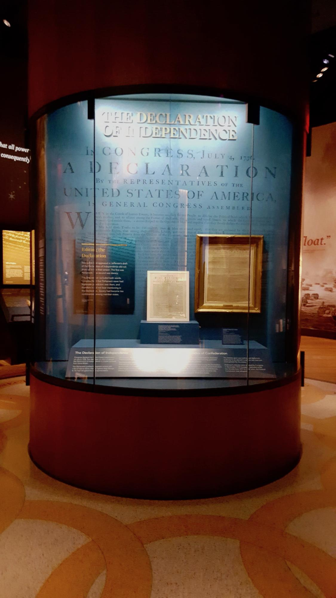 Declaration of Independence Case at the Museum of the American Revolution