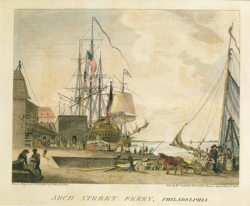 Arch Street Ferry, Philadelphia, by William Russell Birch, 1800