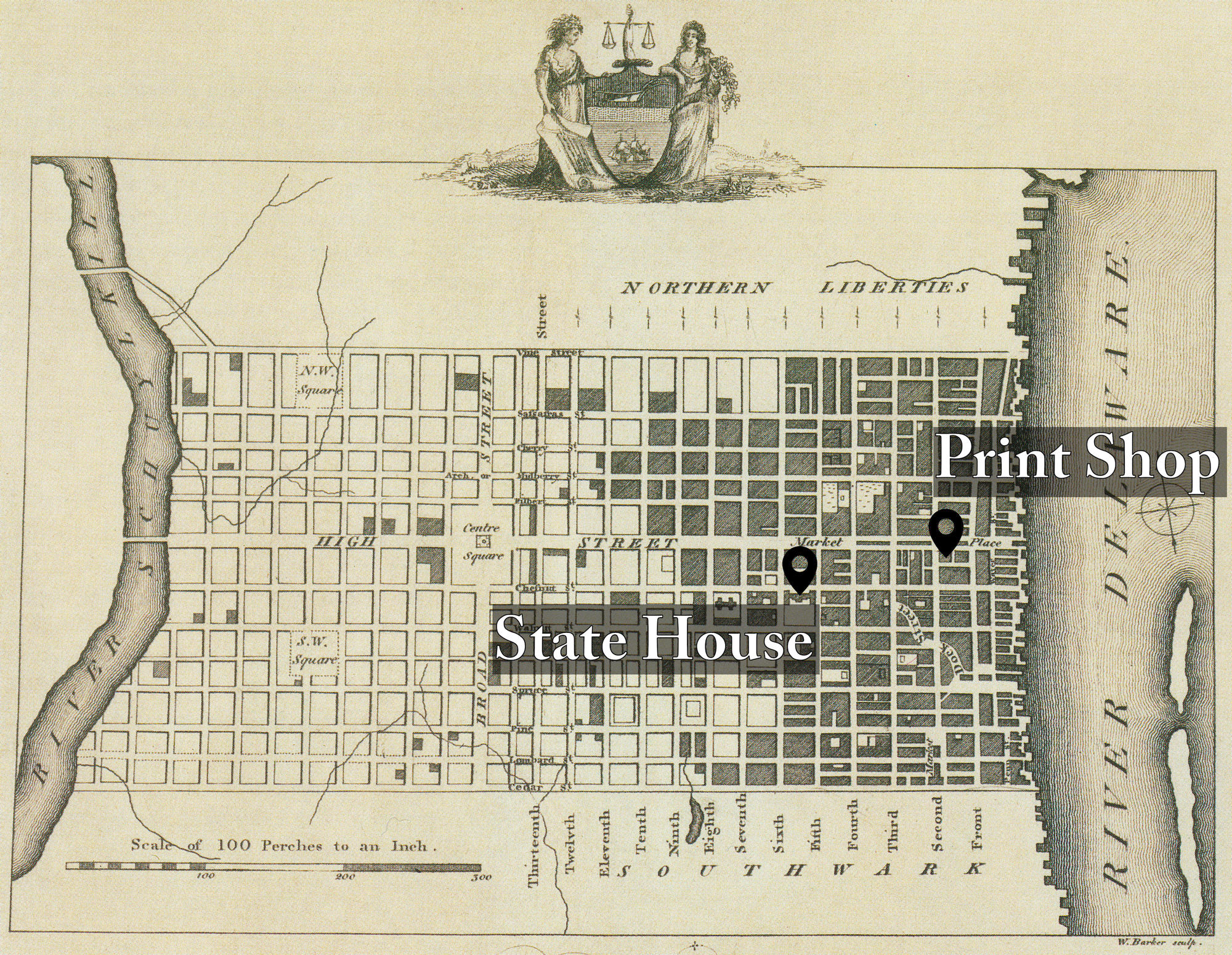 Plan of the City of Philadelphia from Birch's Views of Philadelphia, 1800