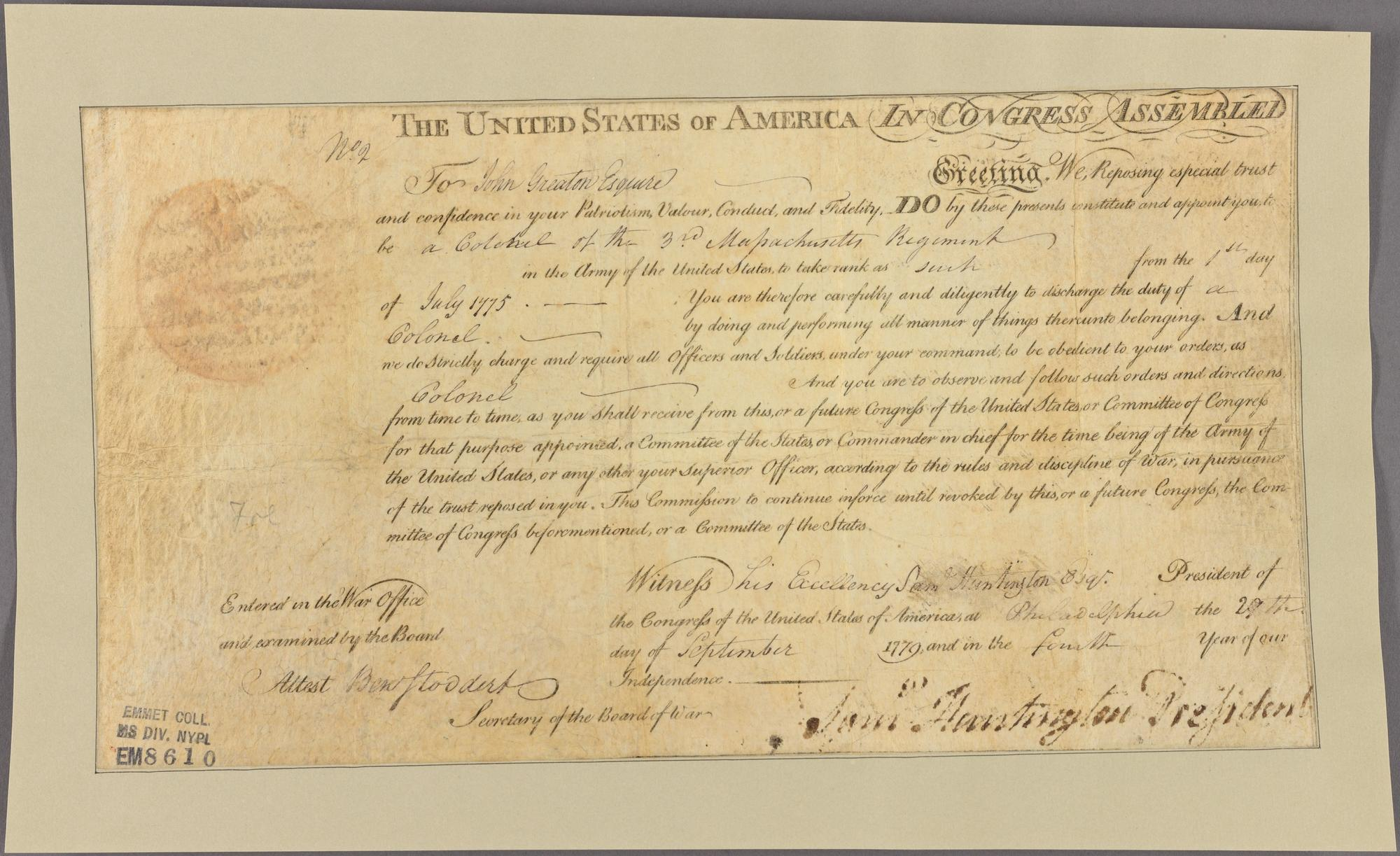 Commission appointing John Greation, 1779. New York Public Library.