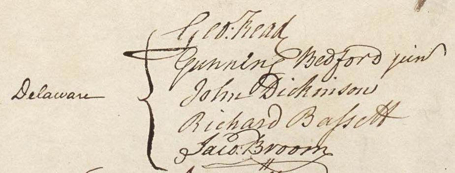 John Dickinson's Signature on the US Constitution